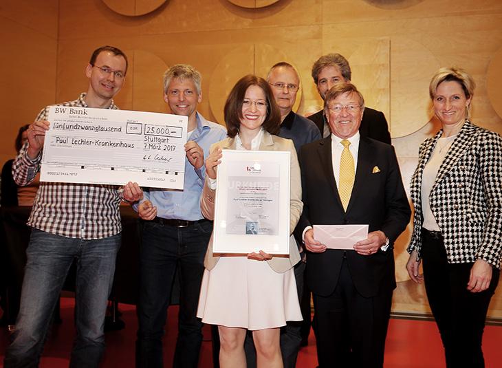 Verleihung des Paul Lechler Preises 2017 an das Paul Lechler Krankenhaus-Tübingen (Palliativstation und Tübinger Projekt, Frau Dr. Christina Paul, Leitung Tübinger Projekt und Oberärztin der Palliativstation), und